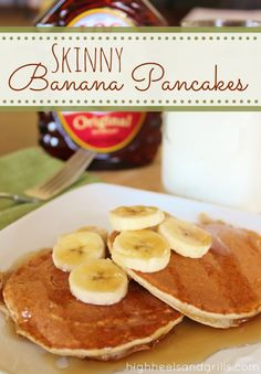 Skinny Banana Pancakes. If you love Jack Johnson, this one's for you. And it's healthy too at only 100 cals per pancake! #breakfast http://www.highheelsandgrills.com/2013/03/skinny-banana-pancakes.html
