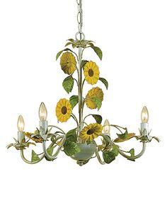 Look what I found on #zulily! Cream Kansas Sunflowers Chandelier #zulilyfinds