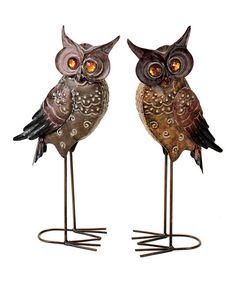 Brown Owl Figurine Set