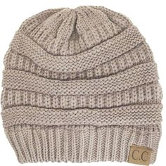 c8a623c2611 Thick Slouchy Knit Oversized Beanie Cap Hat-One Size-Taupe - CE11P2151N5 -  Hats