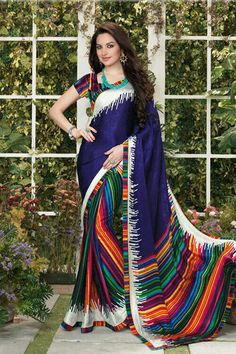Multicolor silk jacquard casual saree featuring embroidery, printed, resham, lace and patch border work. As shown matching pure silk blouse fabric is available. (Slight variation in color is possible. Indian Sarees Online, Buy Sarees Online, Designer Sarees Collection, Saree Collection, Crepe Saree, Silk Crepe, Orange And Turquoise, Cobalt Blue, Navy Blue