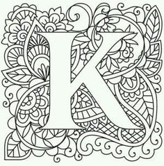 68 Trendy Ideas For Embroidery Patterns Alphabet Urban Threads Alphabet Design, Letter K Design, Colouring Pics, Adult Coloring Pages, Coloring Books, Coloring Letters, Embroidery Letters, Paper Embroidery, Urban Threads