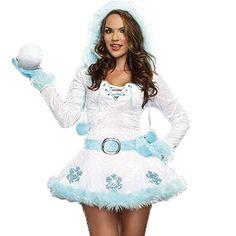 Costour Damen Schneemann Kostüm Weihnachten Kostüm mit Kapuze für Karneval Fasching Party