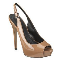 "Love this dark natural' color from Boutique 9.    Its a slingback peep toe pump.    All leather upper.    5 1/4"" heel with 1 1/4"" platform."