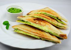 Doesnt it look good? Mint chutney grilled cheese sandwich!