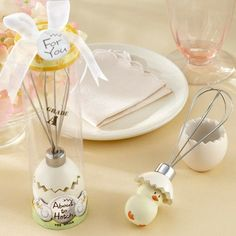 """Stir things up at your baby shower with this adorable and practical """"about to hatch"""" whisk baby shower favor. Packaged in a plastic box and tied with white organza bow, this gift is ready to go! Perfect for kitchen themed baby showers."""