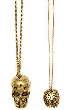 Monserat De Lucca Necklace Open Skull in Brass