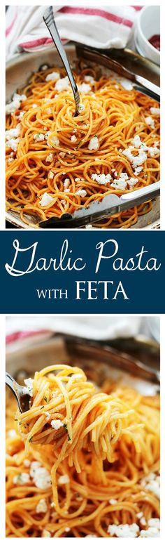 Garlic Pasta with Ketchup and Feta | www.diethood.com | Easy, 30-minute garlic pasta served with ketchup and crumbled feta cheese.