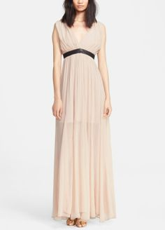 Absolutely beautiful. Can't help but feel like a goddess in this blush Alice + Olivia maxi dress.  Love the leather belted detail against the chiffon.