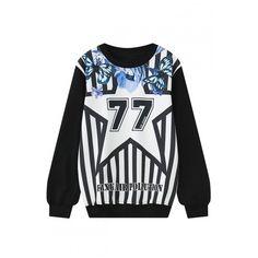 Stripe Number Print Long Sleeve Round Neck Sweatshirt ($31) ❤ liked on Polyvore featuring tops, hoodies, sweatshirts, print sweatshirt, patterned sweatshirt, striped long sleeve top, long cotton tops and cotton sweatshirt