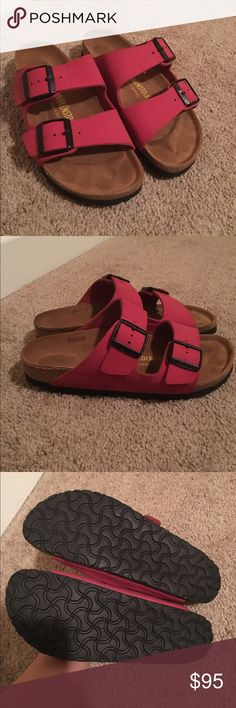 Birkenstock sandals pink size 38 Worn a couple of times. As you can see from the footbed they're still basically new. Super cute color combo! Birkenstock Shoes Sandals