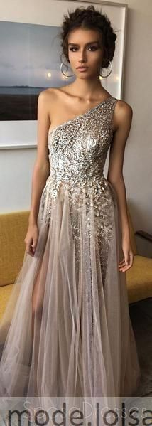 One Shoulder Shinning Side Split Elegant Long Ball Gowns, Side Slit Prom Dresses, Sequins Beaded Evening Gowns, - Evening Dresses and Fashion Cheap Prom Dresses, Prom Party Dresses, Homecoming Dresses, Bridesmaid Dresses, Dress Prom, Long Dresses, Dresses Dresses, Party Outfits, Wedding Dresses