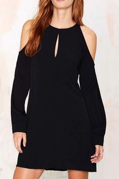 Black Keyhole Neckline Long Sleeve Dress