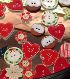 Small but lovely Christmas buttons, handmade ceramic, great as a tiny gift or on top of your gift wrapping? £1.50 selection available in store