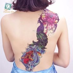 www.lungsong.com Peacock Design is a Full Arm Temporary Tattoos that fits nicely on the a back too.
