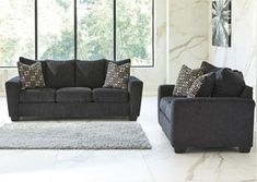 2 pc Wixon collection slate fabric upholstered sofa and love seat set with squared arms. This set includes the Sofa and Love seat featuring squared arms. Sofa measures x x H. Love seat measures x x H. Optional chair and ottoman als Sofa And Loveseat Set, Loveseat Sofa, Slate Sofa, Love Seat, Upholstered Sofa, Furniture, Ashley Furniture, Living Room Sets, City Furniture