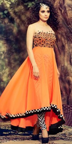 Orange Georgette Designer Full Length Anarkali Suit With Chiffon Dupatta.