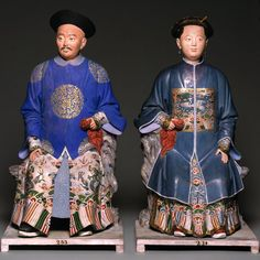Pair of Seated Chinese Figures,ca.1803 Guangzhou,China: unfired clay, paint, wood seel