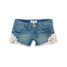 Jolt Tara Crochet Trim Indigo Denim Shorts ($30) ❤ liked on Polyvore