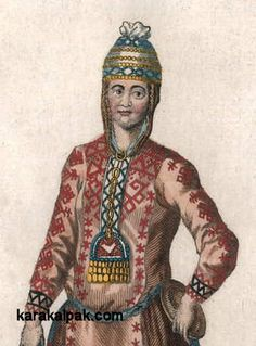 Chuvash Tartar headdress illustrated in Georgi, 1776.