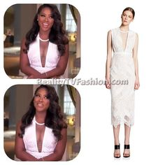 #KenyaMoore's Confessional Interview White Lace Dress #RHOA