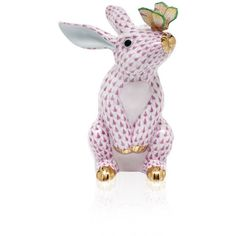 Herend Raspberry Bunny With Butterfly - Raspberry (1,050 CAD) ❤ liked on Polyvore featuring raspberry