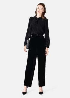 PALAZZO TROUSERS IN VELVET WITH DARTS: Casual Pants Women by Armani - 1