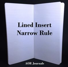 Midori Insert 64 page Narrow Rule Insert for Midori or Fauxdori Travelers Notebook Covers. 9 Travelers Notebook Sizes 26 Cover Colors by AORJournals from AOR Journals by Ann. Find it now at http://ift.tt/2cO5mwZ!