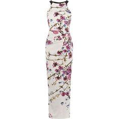 Karen Millen Sakura Gown ($325) ❤ liked on Polyvore featuring dresses, gowns, women, mixed print dress, print gown, zip dress, evening maxi dresses and pattern dress