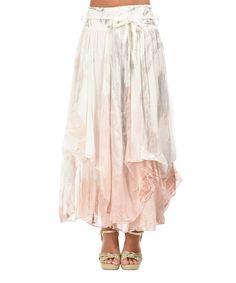 Love this Pink Layered Tie-Die Tie-Waist Linen Maxi Skirt by Charlotte et Louis on #zulily! #zulilyfinds