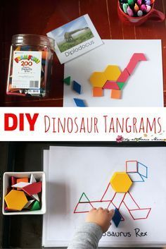 DIY Dinosaur Tangrams - a great math puzzle for kids that you can make yourself. This post has tips on making your own, and explains why tangrams are an important part of a complete math education. These dinosaur tangrams make a great busy bag, too!