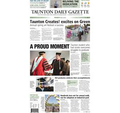 The front page of the Taunton Daily Gazette for Monday, May 18, 2015.