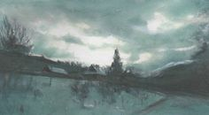 Polish landscape watercolor pastel by Abakua on Etsy