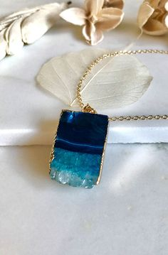 Teal Blue Druzy Necklace