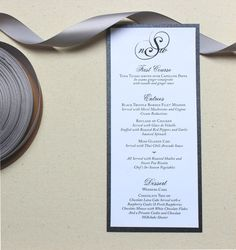 Formal Wedding Menu Card with Monogram  The by PinkOrchidInvites, $2.00