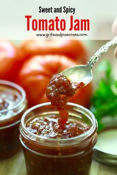 One taste of my sweet and spicy tomato jam featuring fresh tomatoes gently simmered with orange juice, ginger, coriander and cloves and you will be hooked. Chutneys, Antipasto, Ketchup, Fresh Tomato Recipes, Orange Tomatoes Recipes, How To Peel Tomatoes, Jam And Jelly, Vegetable Drinks, Healthy Eating Tips