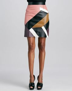 Mondrian Patchwork Leather Skirt by Fendi at Bergdorf Goodman.
