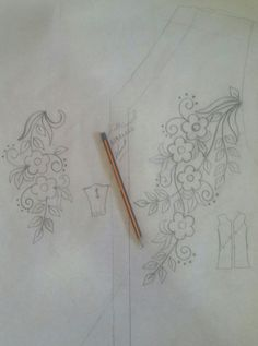 0671912222 Hand Embroidery Flowers, Embroidery On Clothes, Beaded Embroidery, Machine Embroidery Designs, Embroidery Patterns, Sewing Patterns, Drawing Stencils, Pencil Design, Native American Beadwork