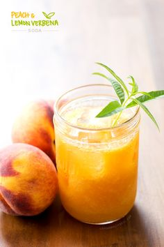 Fresh Peach & Lemon Verbena Soda-- refreshing and delicious Cocktails, Non Alcoholic Drinks, Party Drinks, Cocktail Drinks, Fun Drinks, Cold Drinks, Healthy Drinks, Beverages, Juice Smoothie