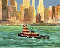 """""""NYC Tugboat at Sunset"""" - Original Fine Art for Sale - © Patricia Ann Rizzo http://www.dailypaintworks.com/fineart/patricia-ann-rizzo/nyc-tugboat-at-sunset/191999"""