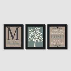 Custom Family Monogram Initial Home Neutral Love Bird Tree Quote Set of 3 Prints House Wedding Gift Anniversary Wall Art Decor Picture on Etsy, $32.00