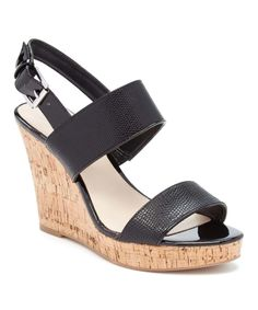 Another great find on #zulily! Black Lucini Wedge Sandal by Nine West #zulilyfinds