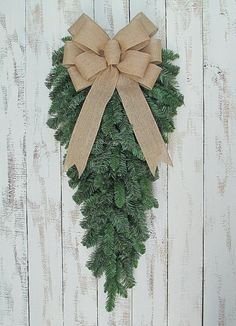 Shopping for Christmas Tree Decorations – Get Ready for Christmas Christmas Teardrop Wreath with Natural Burlap Bow, Rustic Thanksgiving Fall, Winter Holiday Door Porch Decor Classy Christmas, Christmas Swags, Christmas Door, Rustic Christmas, Christmas Crafts, Christmas Ornaments, Holiday Door Decorations, Thanksgiving Decorations, Rustic Thanksgiving