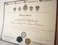 Hogwarts Diploma Custom. $15.00, via Etsy.