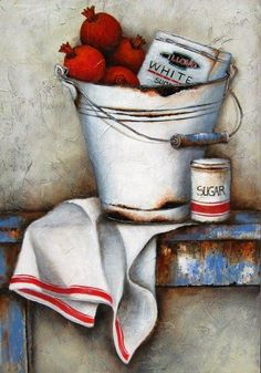 Stella Bruwer white enamel bucket pomegranates and white box in bucket, white towel with red stripe, sugar tin on shabby blue table