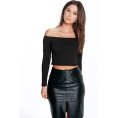 Boohoo Hollie Ribbed Off The Shoulder Crop ($20) ❤ liked on Polyvore featuring tops, black, crop top, off the shoulder crop top, jersey crop top, black long sleeve top and basic t-shirt