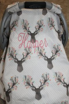 Baby Carseat Canopy - Fawn Tulip Carseat Canopy, Tent, Cover, Deer, Flowers