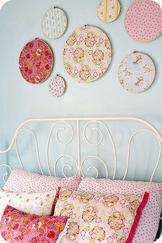 embroidery hoop wall art _ I did some similar to this today in a cool design around my t.v. great way to jazz up a dull white wall