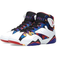 Nike Jordan Brand Nike Air Jordan VII Retro BG 'Nothing But Net' ($135) ❤ liked on Polyvore featuring mens
