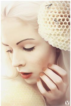 A Bee in Her Bonnet by Igor Grushko aka Vayne - Shades of White Photography Projects, Artistic Photography, Digital Portrait, Digital Art, Milk And Honey, Bees Knees, Photo Manipulation, Belle Photo, Cool Art